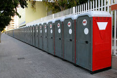 Portable Bathrooms. Portable chemical toilets for quantities of public or sporting events stock photography