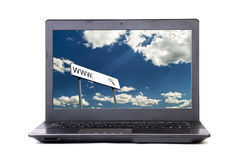 Portable black computer with search line Royalty Free Stock Photo