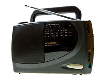 Portable black radio isolated on white Stock Images