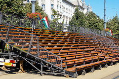 Portable bleachers. On the street Stock Images