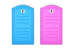 Portable blue men and pink women toilets, 3D rendering. Isolated on white background Stock Images