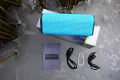 Portable Bluetooth music speaker stock photography