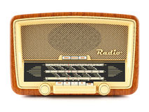 Portable brown retro radio receiver Royalty Free Stock Images