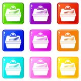 Portable cage for pets icons 9 set Stock Photography