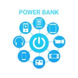 Portable Cahrger Power Bank Technology With Modern Gadgets Icons Charging. Vector Illustration Royalty Free Stock Photos