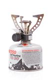 Portable camping stove. With a butane/propane gas canister Stock Photos