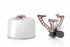 Portable camping stove. With a butane/propane gas canister stock images