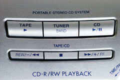 Portable CD player controls Royalty Free Stock Photo