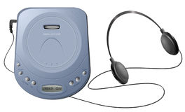 Portable CD player with headphones - Blue. Computer-generated illustration: blue portable CD player with headphones. Isolated object on white background Stock Image