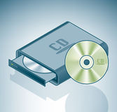 Portable CD-ROM drive. Is a part of the Isometric 3D Computer Hardware Icons Set Royalty Free Stock Image