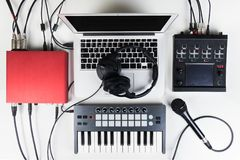 Portable and compact music home studio for electronic and beat music production Royalty Free Stock Photography