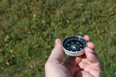 Portable compass. Hold in hand for navigation stock image