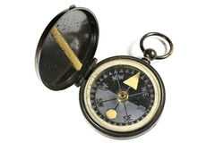 Portable compass. Vintage portable compass isolated on white background Stock Photo