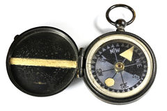 Portable compass. Vintage portable compass isolated on white background Royalty Free Stock Images