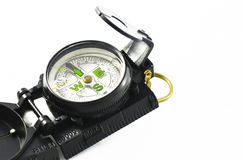 Portable compass on white Royalty Free Stock Photography