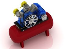 Portable compressor with rotating pulley Stock Image