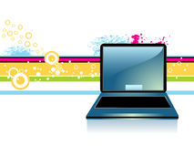 Portable computer. On abstract background vector illustration
