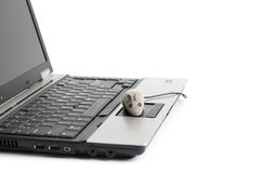 Portable computer and mouse Stock Photos