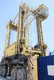 Portable crane containers Royalty Free Stock Photo