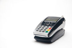 Portable Credit Card Terminal on Base. Portable Contactless Credit Card Terminal on Base royalty free stock photography