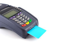 Portable Credit Card Terminal on Base Stock Photo