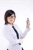 Portable de fixation de femme d'affaires photographie stock libre de droits