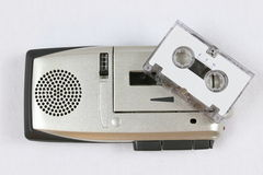 Portable dictating machine. In silver with a minicassette Stock Images