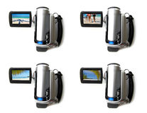Portable digital video camera. With pictures tropical vacation over white background. Collage stock images