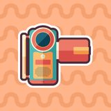 Portable digital video camera sticker flat icon with color background. Detailed and realistic sticker flat design icon with color background Stock Images