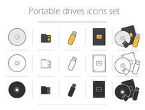 Portable drives icons set Royalty Free Stock Photos