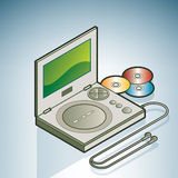 Portable DVD player. (part of the Kitchen Utensils Isometric 3D Icons Set Royalty Free Stock Photo