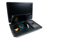Portable dvd player with the opened disk Royalty Free Stock Image