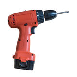 Portable Electric drill. Isolate on white background Stock Photos