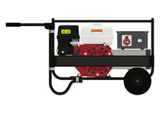 Portable electric generator. Side view. Flat vector Stock Photos