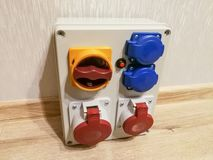 Portable electrical panel with AC outlets. And switches for constructions royalty free stock image