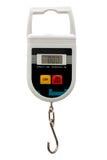 Portable electronic scale on white background Stock Image