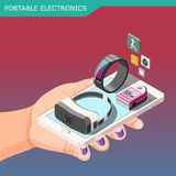 Portable Electronics Isometric Composition. On gradient background with smartphone, fitness bracelet, vr glasses in hand vector illustration Stock Image