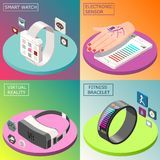 Portable Electronics Isometric Design Concept. With smartwatch, virtual reality glasses, medical sensor, fitness bracelet isolated vector illustration Stock Photos