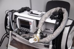 Portable emergency ventilation, oxygen therapy, patient monitoring system with defibrillator.  royalty free stock images