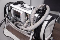 Portable emergency ventilation, oxygen therapy, patient monitoring system with defibrillator.  royalty free stock photos