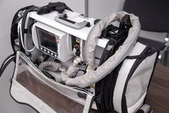 Portable emergency ventilation, oxygen therapy, patient monitoring system with defibrillator.  stock image