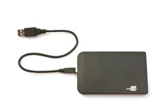 Portable external hard disk drive. With USB cable on white background Stock Photos