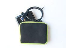 Portable external hard disk. Drive with USB cable on white background Royalty Free Stock Image