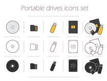 Portable fährt die eingestellten Ikonen Lizenzfreie Stockfotos