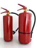 Portable fire extinguisher. Red portable fire extinguisher on white background Royalty Free Stock Photos