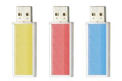 Portable flash drive. For computer against white background Stock Image