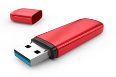 Portable flash usb drive memory. On white background Stock Image