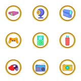 Portable gadget icons set, cartoon style Stock Photography