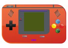 Portable Game Console Retro style. Is an retro style of gaming portable device common in 1990`s era of gaming looks like gameboy from nintendo but it`s not Stock Photography