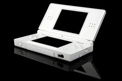 Portable Games Console on Black - Open Stock Photo